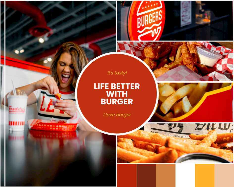 Mood Board template: Burger Fast Food Mood Board (Created by Collage's Mood Board maker)