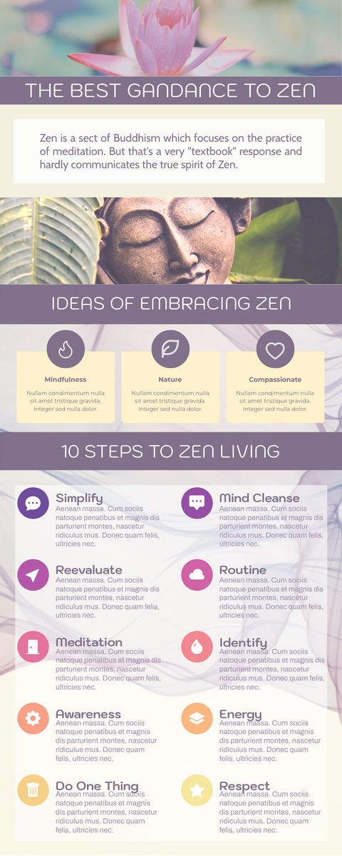 Infographic template: 10 Steps To Zen (Created by InfoART's Infographic maker)