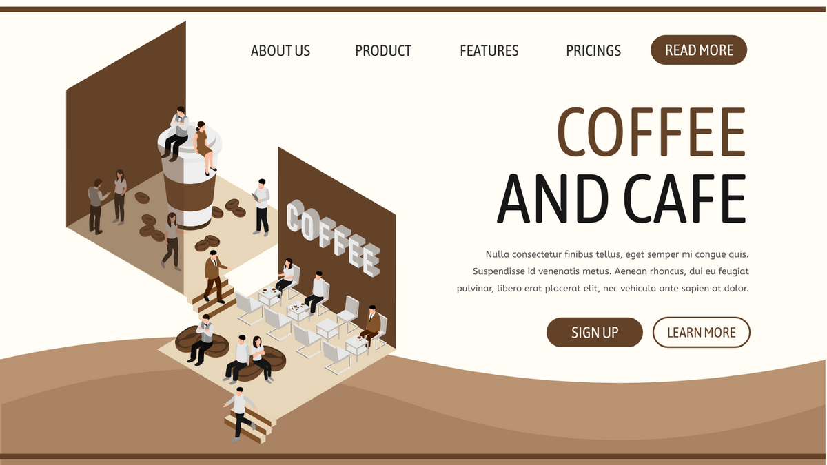 Isometric Diagram template: Coffee Shop Isometric Diagrams (Created by InfoART's Isometric Diagram maker)