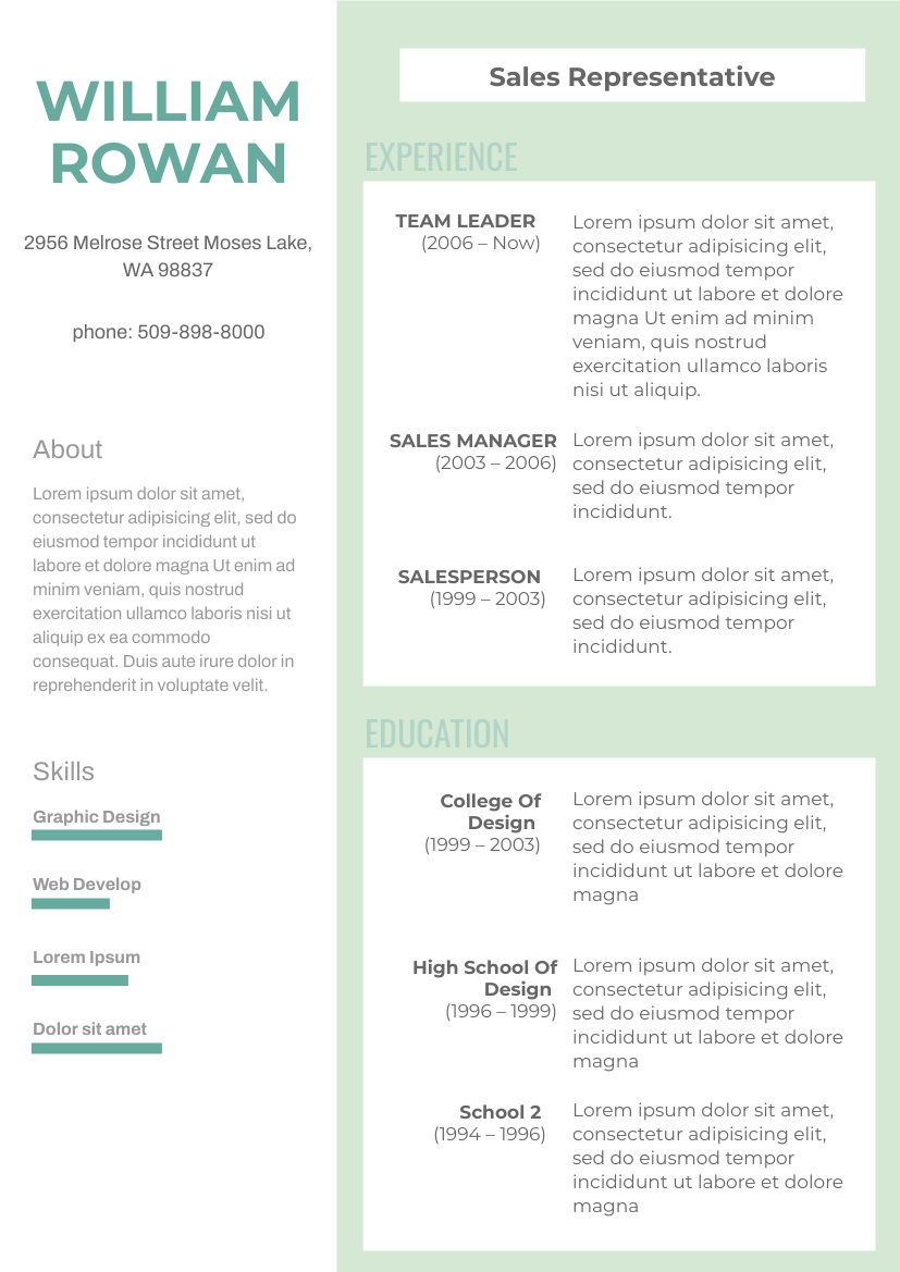 Resume template: 2 Columns Resume (Created by InfoART's Resume maker)