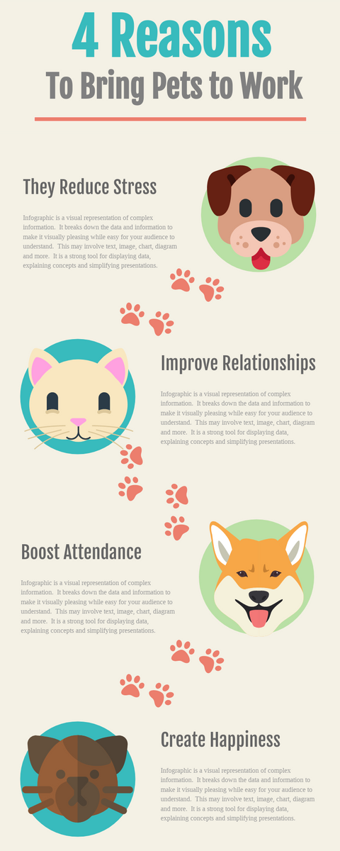 Infographic template: 4 Reasons To Bring Pets to Work Infographic (Created by InfoART's Infographic maker)