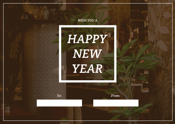 Gift Card template: Brown Restaurant Photo New Year Gift Card (Created by InfoART's Gift Card maker)