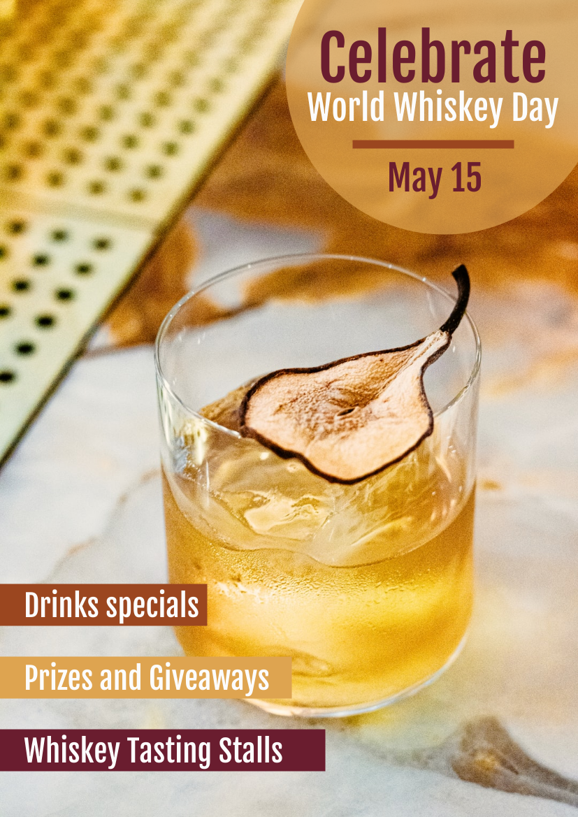Flyer template: Celebrate World Whiskey Day Flyer (Created by InfoART's Flyer maker)