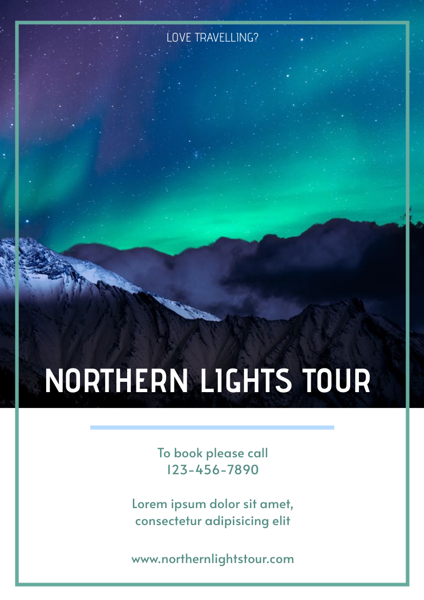 Flyer template: Northern Lights Tour Flyer (Created by InfoART's Flyer maker)