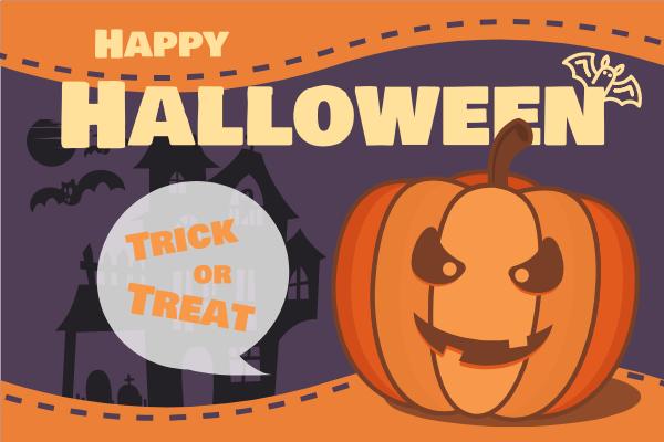 Greeting Card template: Happy Halloween Pumpkin Greeting Card (Created by InfoART's Greeting Card maker)