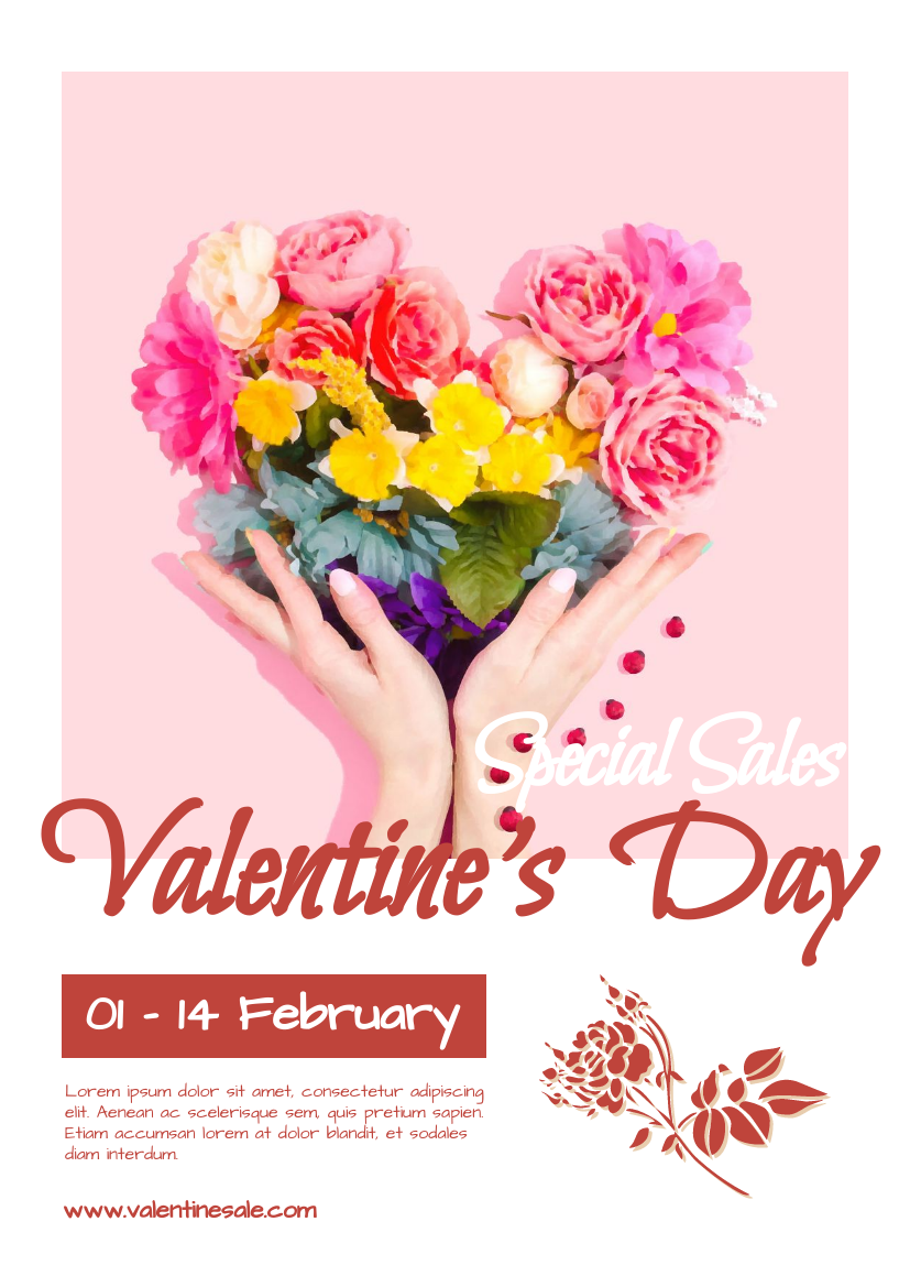 Flyer template: Pink Valentine's Day Special Sale Flyer (Created by InfoART's Flyer maker)
