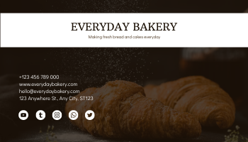 Business Card template: Brown And White Bread Photo Bakery Business Card (Created by InfoART's Business Card maker)