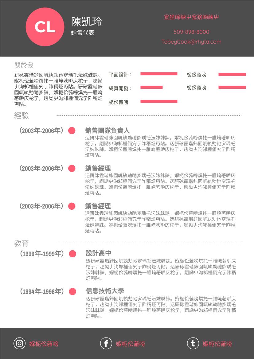 履歷表 template: 紅色簡歷 (Created by InfoART's 履歷表 maker)