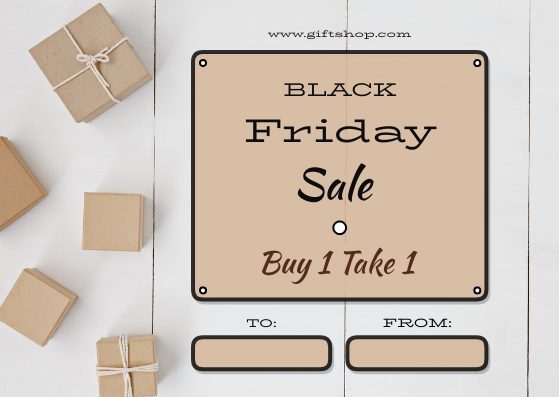 Gift Card template: Brown Squares Gifts Black Friday Gift Card (Created by InfoART's Gift Card maker)