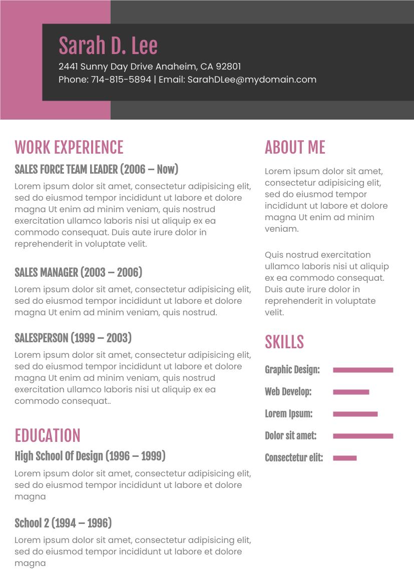 Dark Pink Theme Resume