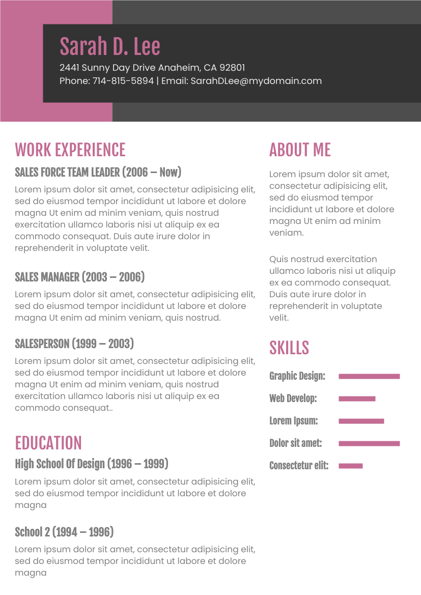 Resume template: Dark Pink Theme Resume (Created by InfoART's Resume maker)