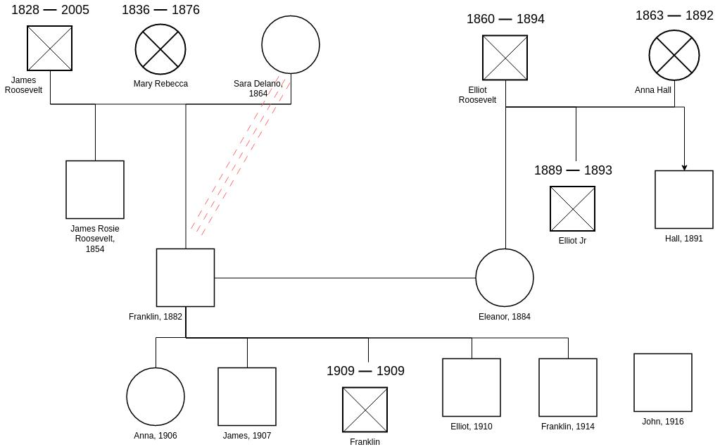 Genogram template: Example of Complete Genogram (Created by Diagrams's Genogram maker)