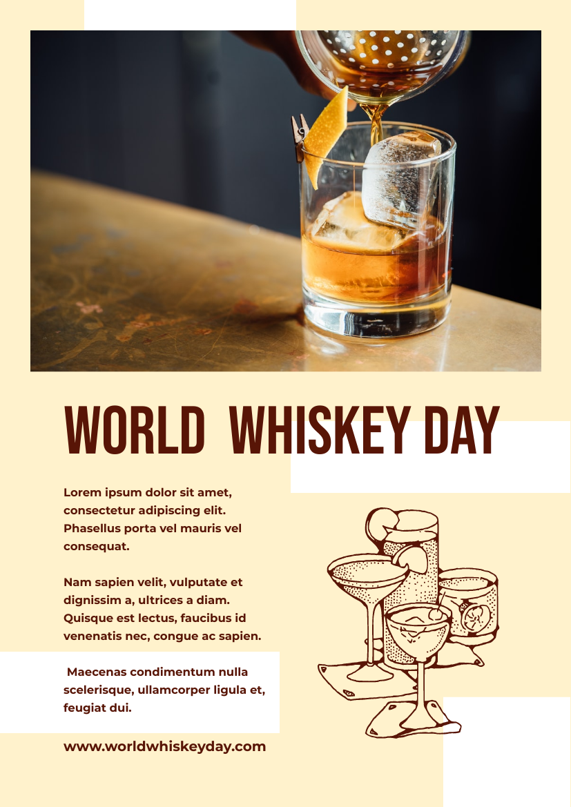 Flyer template: Simple Whiskey Day Informative Flyer In Brown And Yellow Colour Tone (Created by InfoART's Flyer maker)