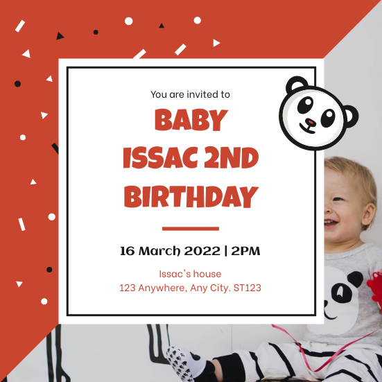 Invitation template: Red And Black Panda Cartoon Baby Birthday Invitation (Created by InfoART's Invitation maker)