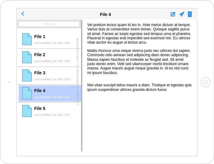 IOS Wireframe template: File Manager (Created by Diagrams's IOS Wireframe maker)