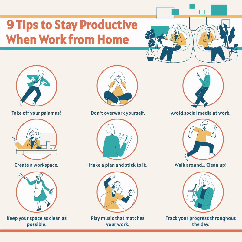 Infographic template: 9 Tips to Stay Productive When Work from Home Infographic (Created by InfoART's Infographic maker)