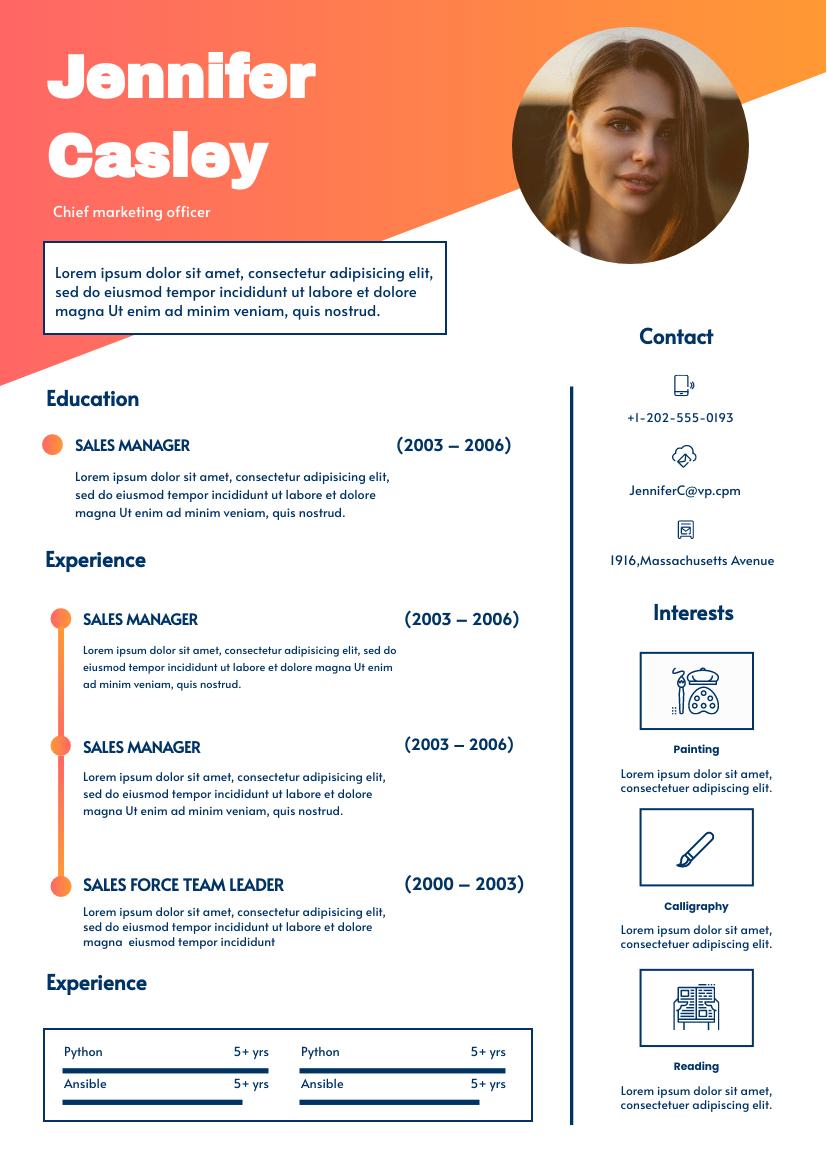 Resume template: Sunset Resume (Created by InfoART's Resume maker)