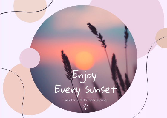 Post Card template: Enjoy Every Sunset Postcard (Created by InfoART's Post Card marker)
