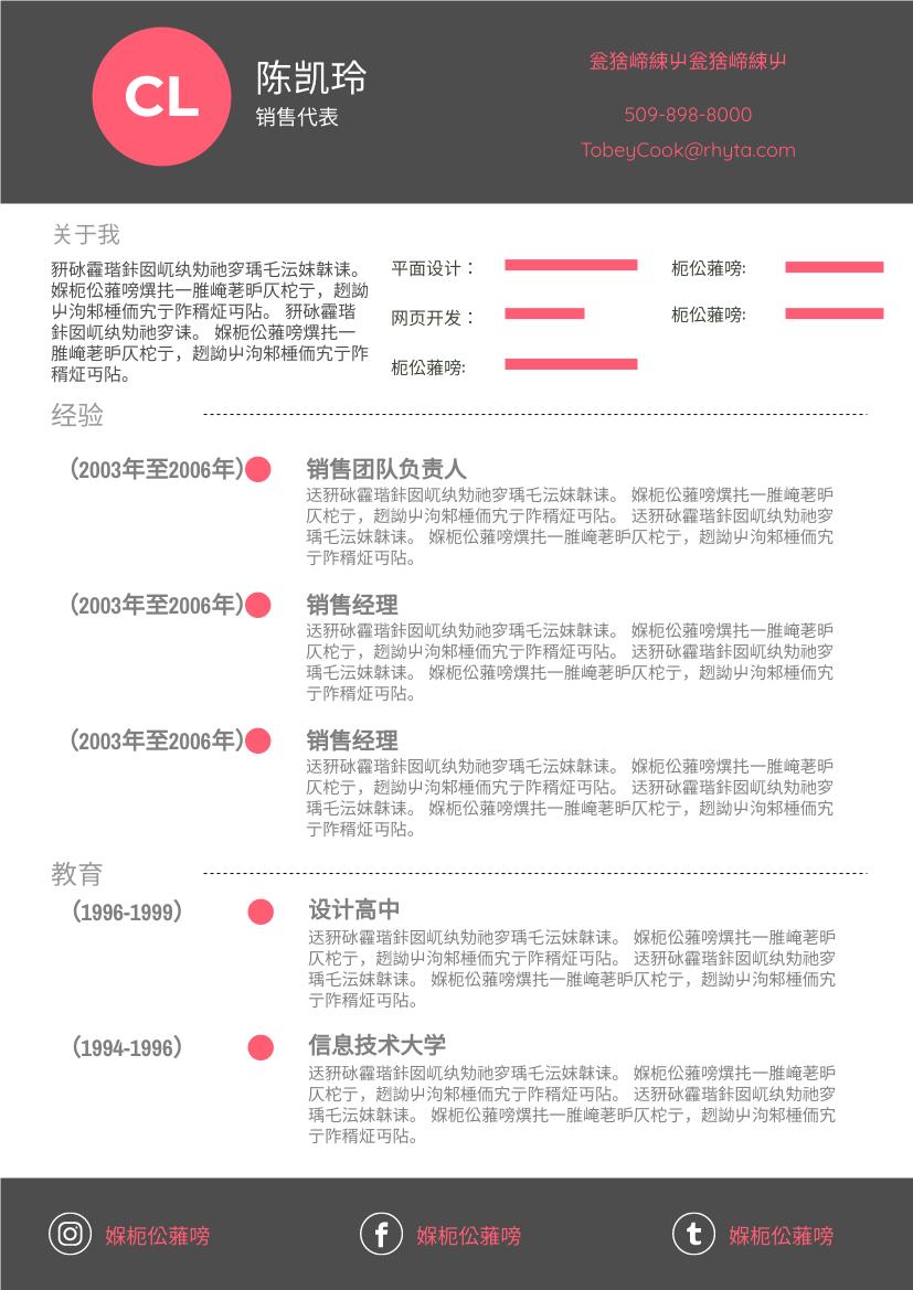 履历表 template: 红色简历 (Created by InfoART's 履历表 maker)