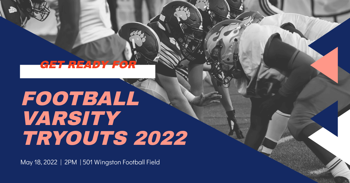 Facebook Ad template: Football Varsity Tryouts Sports Facebook Ad (Created by InfoART's Facebook Ad maker)