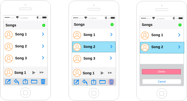 Music App (iOS Wireframe Example)