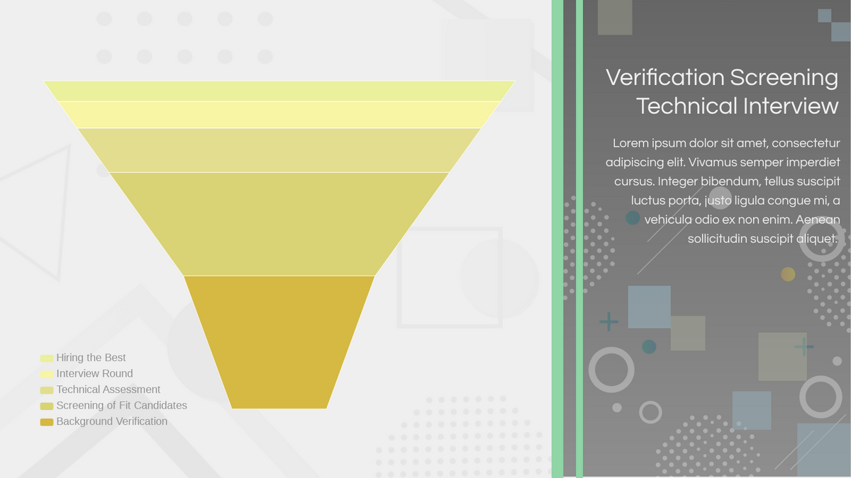Funnel Chart template: Verification Screening Technical Interview (Created by Chart's Funnel Chart maker)