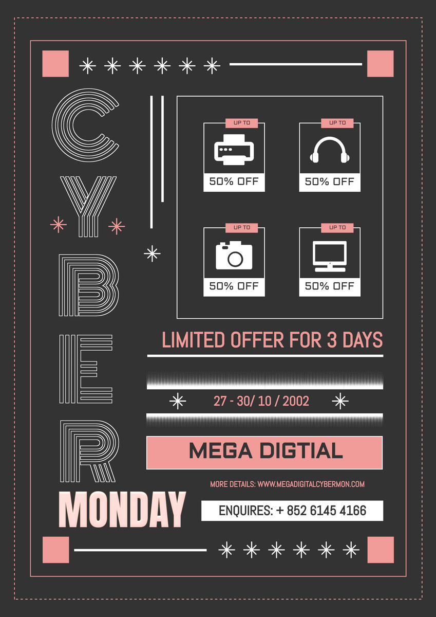 Poster template: Retro Cyber Monday Poster (Created by InfoART's Poster maker)