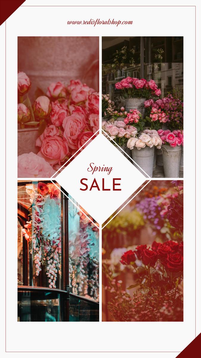 Instagram Story template: Elegant Red Floral Photo Grids Spring Sale Instagram Story (Created by InfoART's Instagram Story maker)