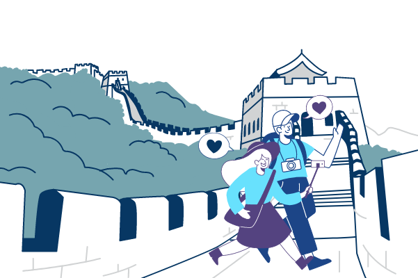 illustrations.templates.sport.type-name template: Traveling In China Illustration (Created by Scenarios's illustrations.templates.sport.type-name maker)