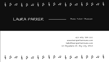 Business Card template: Monochrome Black Piano Music Business Card (Created by InfoART's Business Card maker)