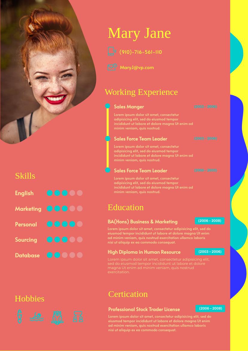 Resume template: Vibrant Resume (Created by InfoART's Resume maker)