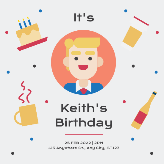 Invitation template: Cute Portrait Illustration Birthday Party Invitation (Created by InfoART's Invitation maker)