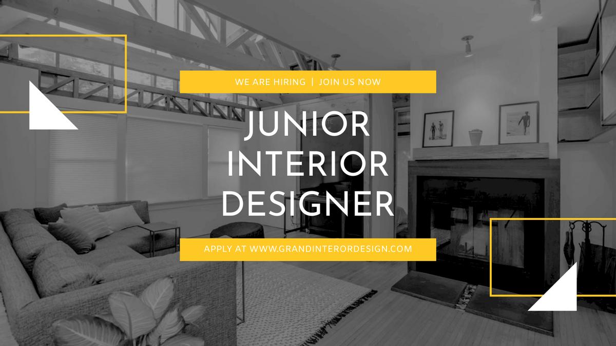 Twitter Post template: Black And White Interior Design Hiring Twitter Post (Created by InfoART's Twitter Post maker)