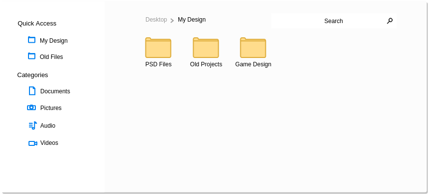 File Management Fluent UI (Fluent Design Wireframe Example)