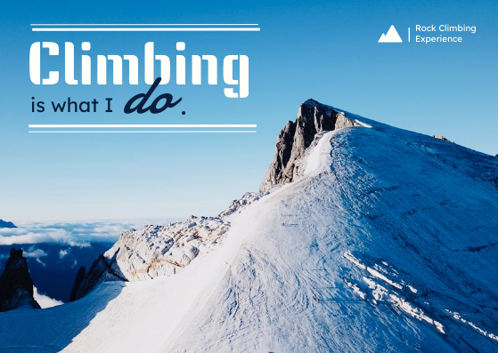 Post Card template: Climbing Mountain Experience Post Card (Created by InfoART's Post Card marker)
