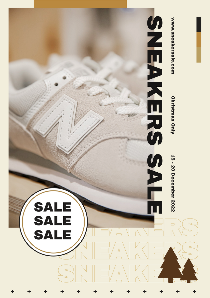 Poster template: Nude Color Sneakers Christmas Sale Poster (Created by InfoART's Poster maker)