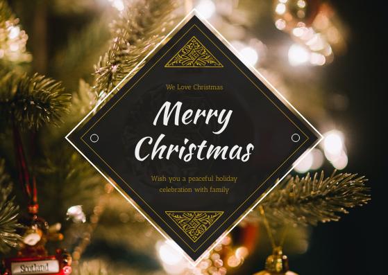 Postcard template: Gold Christmas Tree photo Holiday Celebration Postcard (Created by InfoART's Postcard maker)