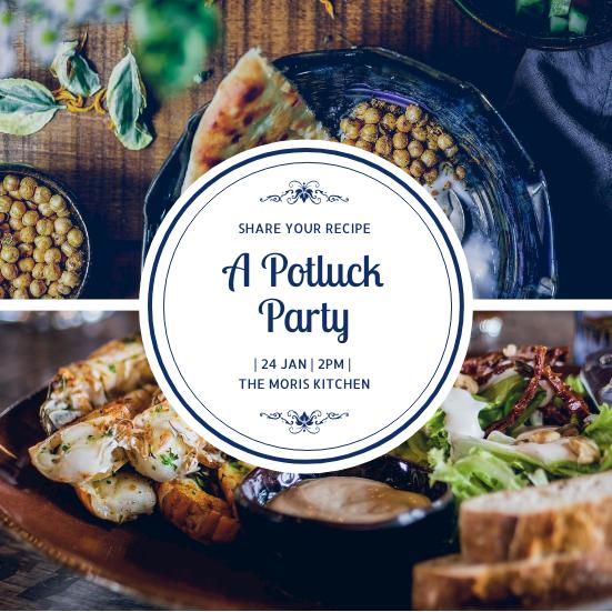 Invitation template: Blue Circle A Potluck Party Invitation (Created by InfoART's Invitation maker)
