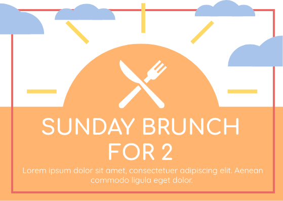 Gift Card template: Sunday Brunch For 2 Gift Card (Created by InfoART's Gift Card marker)