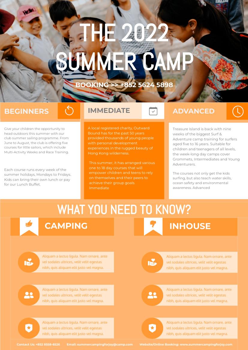 Flyer template: Orange Summer Camp Flyer (Created by InfoART's Flyer maker)