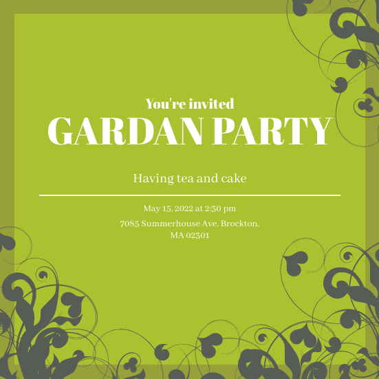 Invitation template: Garden Party Invitation (Created by InfoART's Invitation marker)