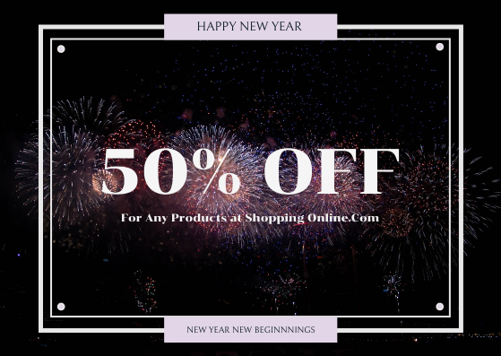 Gift Card template: Purple Firework Photo New Year Sale Gift Card (Created by InfoART's Gift Card maker)