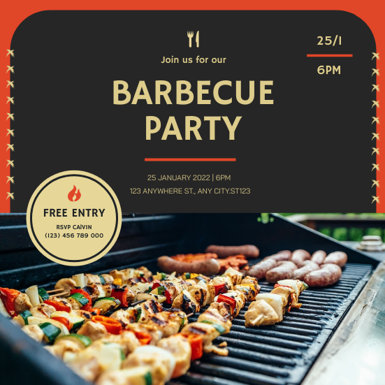 Invitation template: Black With Red Barbecue Housewarming Invitation (Created by InfoART's Invitation maker)