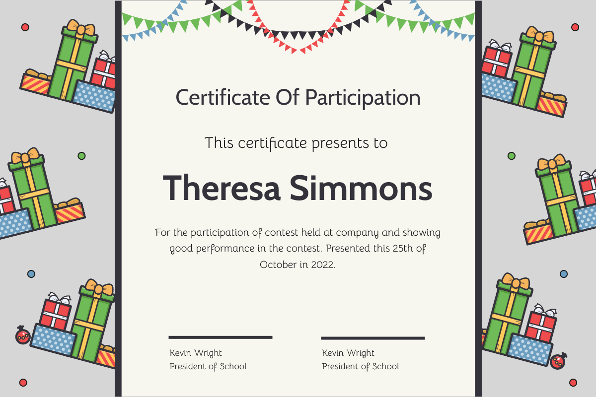 Certificate template: Christmas Presents And Decorations Certificate (Created by InfoART's Certificate maker)