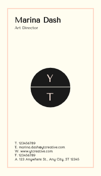 Business Card template: YT Creative Business Cards (Created by InfoART's Business Card maker)