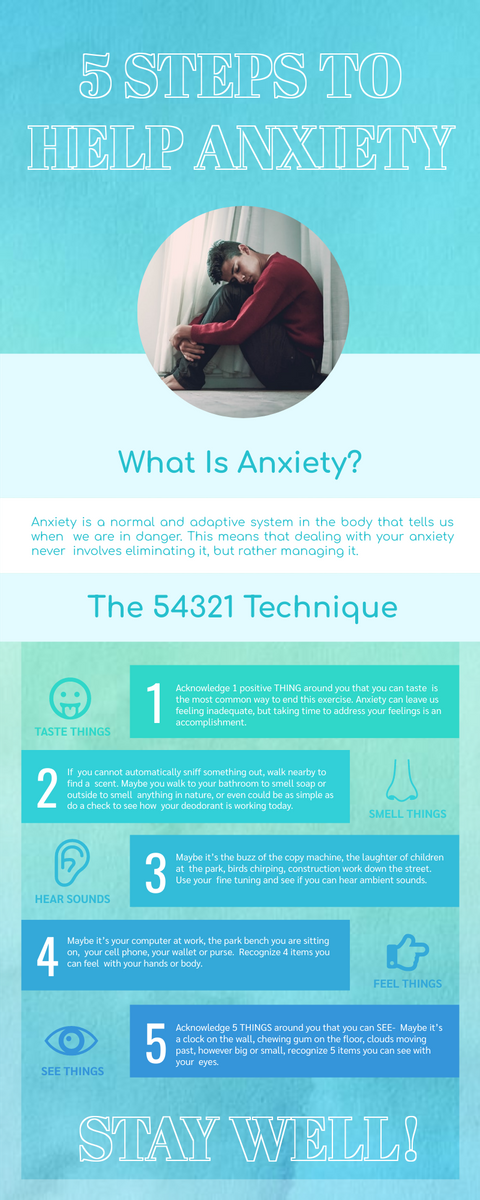 Infographic template: 5 Steps To Help Anxiety Inforgraphics (Created by InfoART's Infographic maker)
