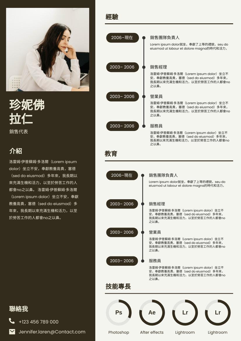 履歷表 template: 兩列褐色簡歷 (Created by InfoART's 履歷表 maker)