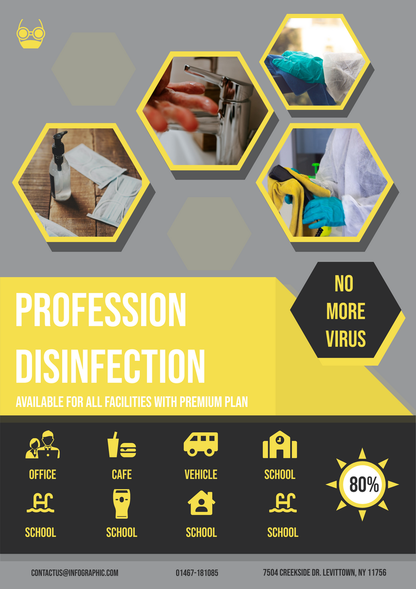 Poster template: Disinfection Cleaning Poster (Created by InfoART's Poster maker)