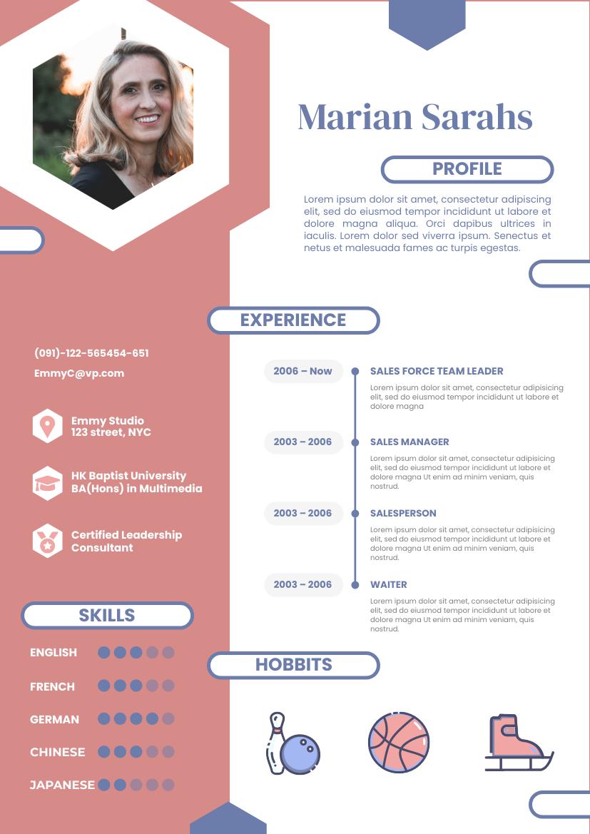 Resume template: Hexagonal Leisure Resume (Created by InfoART's Resume maker)