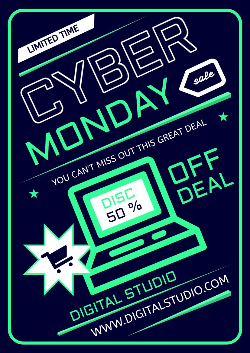Flyer template: Mint Cyber Monday Sale Flyer (Created by InfoART's Flyer maker)